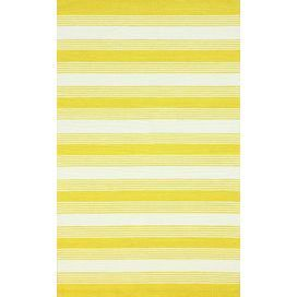 Hand-hooked wool rug with yellow and white striping.   Product: RugConstruction Material: 100% WoolColor: YellowNote: Please be aware that actual colors may vary from those shown on your screen. Accent rugs may also not show the entire pattern that the corresponding area rugs have.Cleaning and Care: Spot clean with mild detergent and water