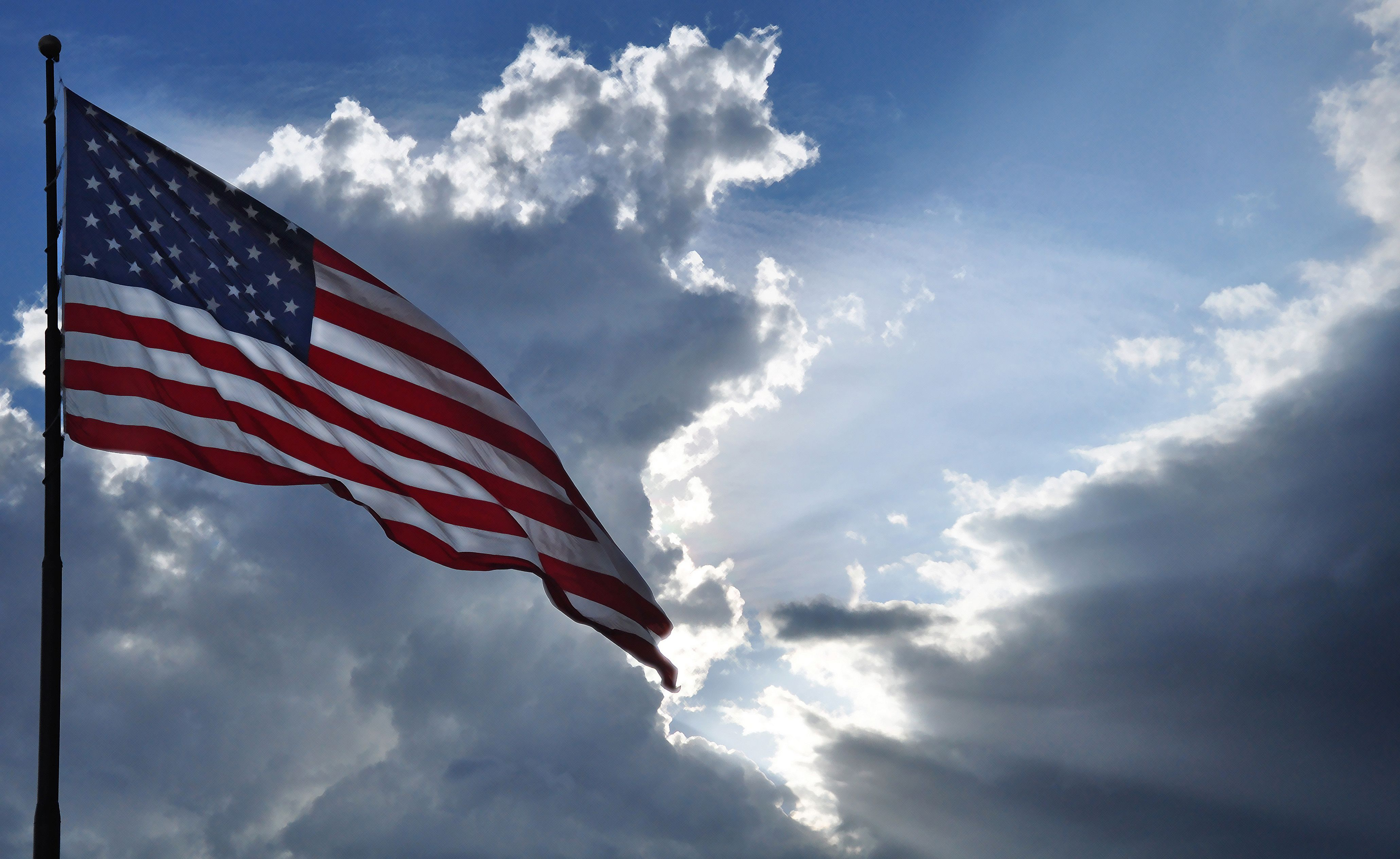 Beautiful Cloudy Evening Flag Flying Norman Oklahoma Wonders Of The World Nature Mother Nature
