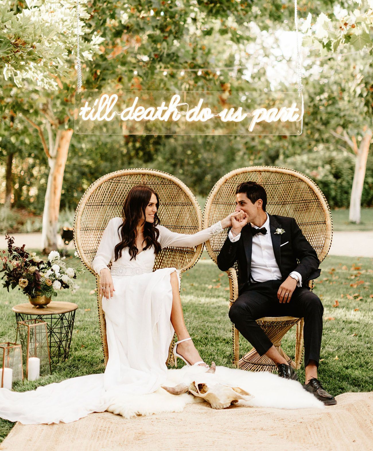 A black tie affair modern countryside wedding with luxe boho
