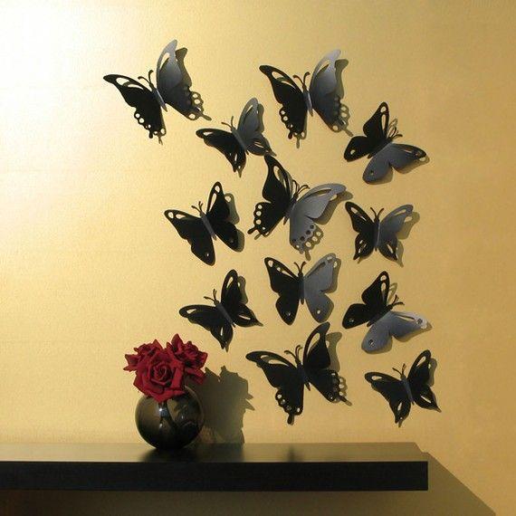 Butterfly Wall Art Popup Black Butterflies 3D by StudioLiscious ...