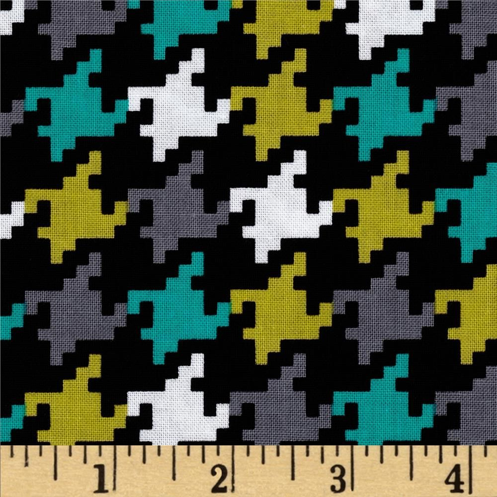 Michael Miller Everyday Houndstooth Mermaid  from @fabricdotcom  Designed by Michael Miller, this cotton print fabric is perfect for quilting, apparel and home decor accents. Colors include citrus, teal, grey, black and white.