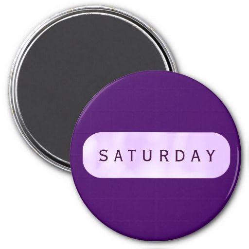 Saturday Purple Large Round Magnet by Janz