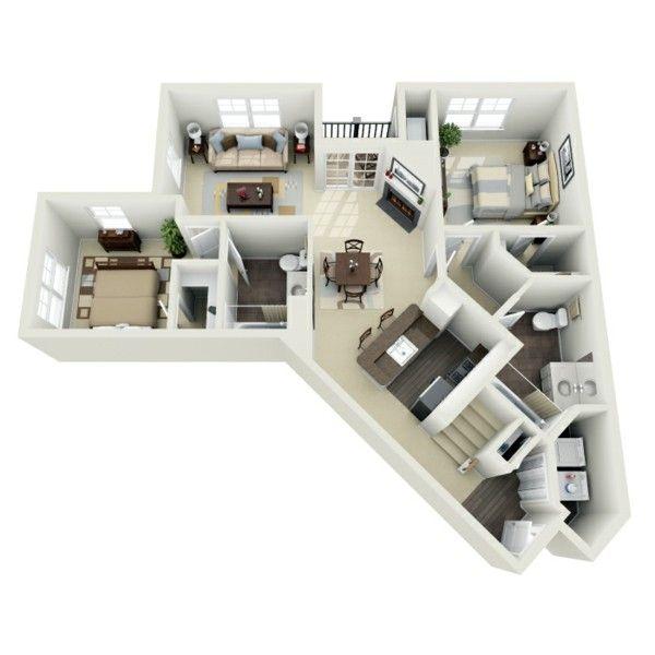 Planos de casas y apartamentos en 3 dimensiones Esquina, En forma