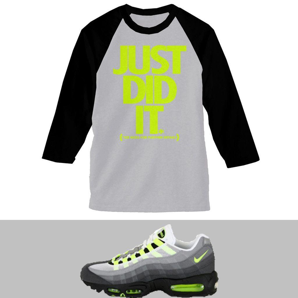 Just Did It Airmax 95 Neon Raglan Shirt Grey Black Shirts