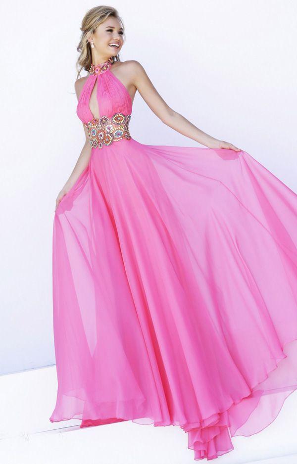 Coral Multi Colored Beaded High Neck Halter Neckline Long Dress ...