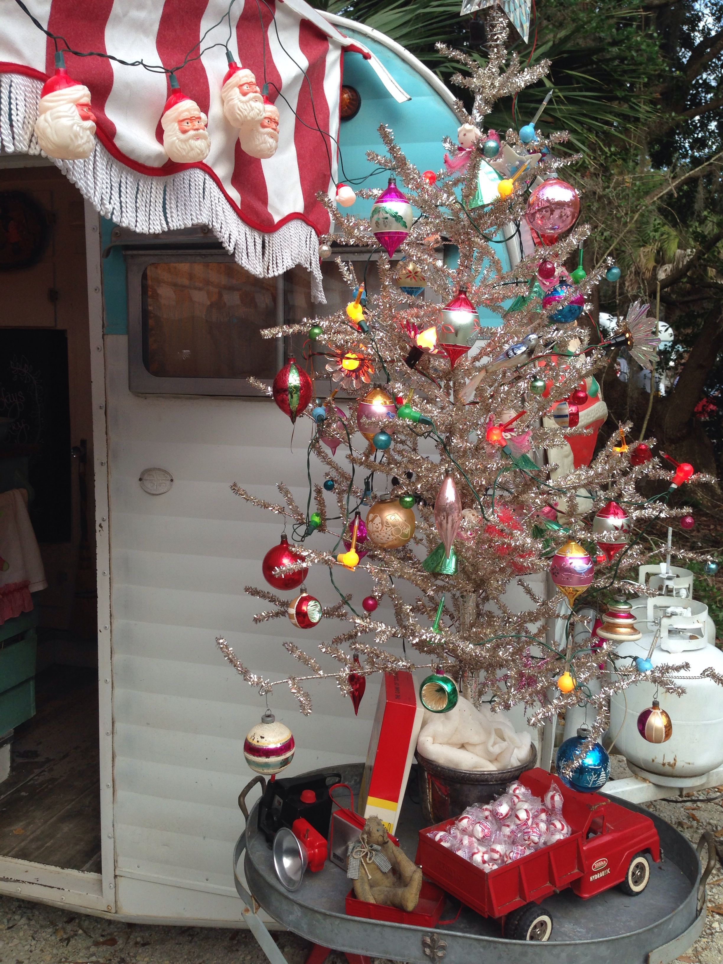 Christmas time in our vintage trailer
