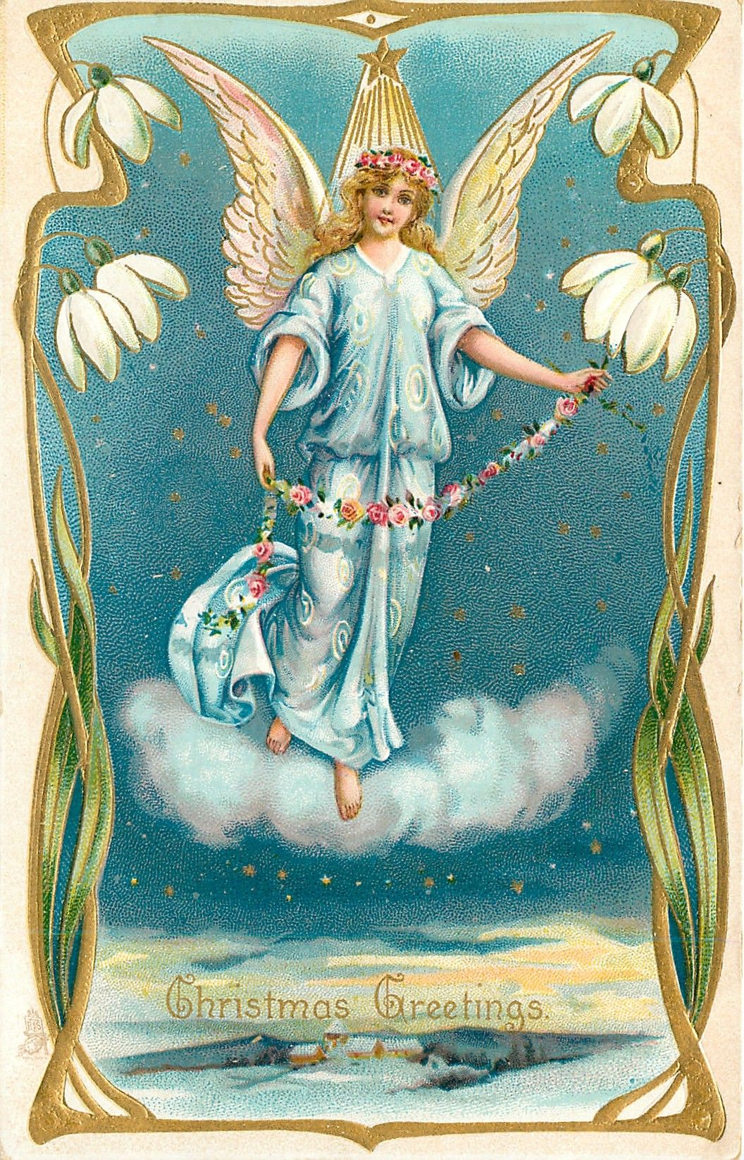Full Sized Image: CHRISTMAS GREETINGS angel in blue stands on clouds, ornate border with snowdrops - TuckDB