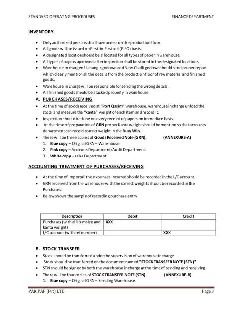 Sop Format For Accounts Department Google Search Business Letter Example Standard Operating Procedure Examples Standard Operating Procedure