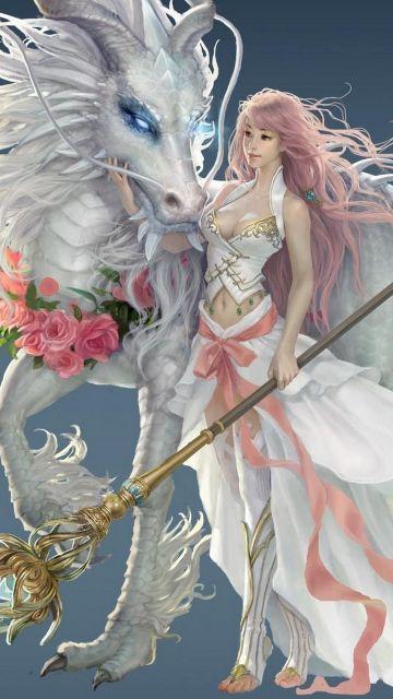 360x640 Wallpaper Girl Dragon Horse Magic Staff Fantasy