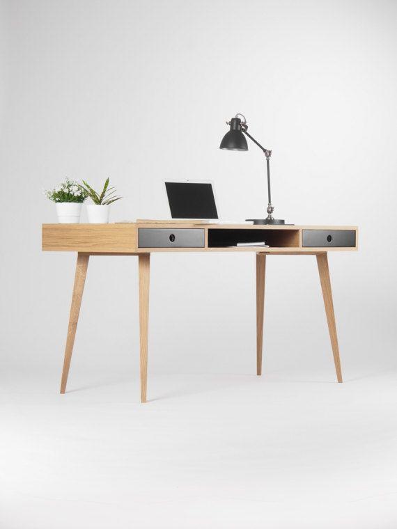 Large Modern Oak Desk Computer Table Bureau With Black Etsy In 2020 Oak Desk Modern Computer Table Oak Desk