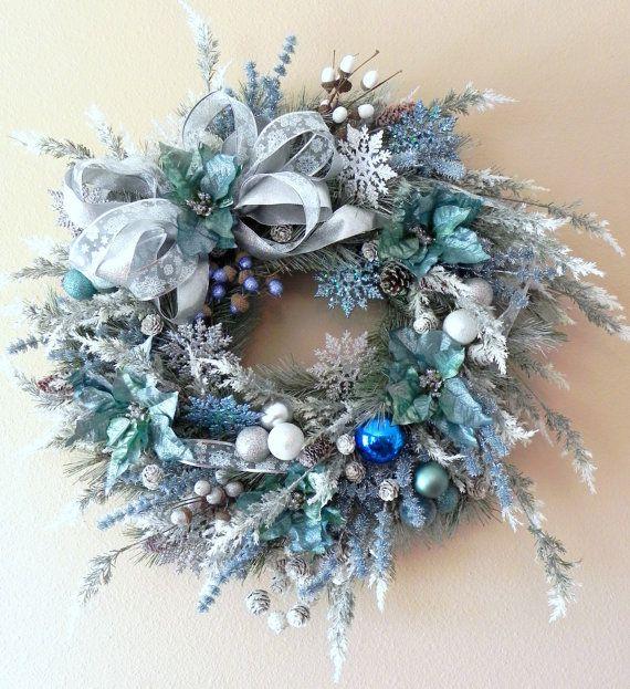 Christmas Wreath Using Royal Blue And Silver Blue And Silver Poinsettia Mesh Christm Christmas Mesh Wreaths Deco Mesh Christmas Wreaths Christmas Wreaths Diy