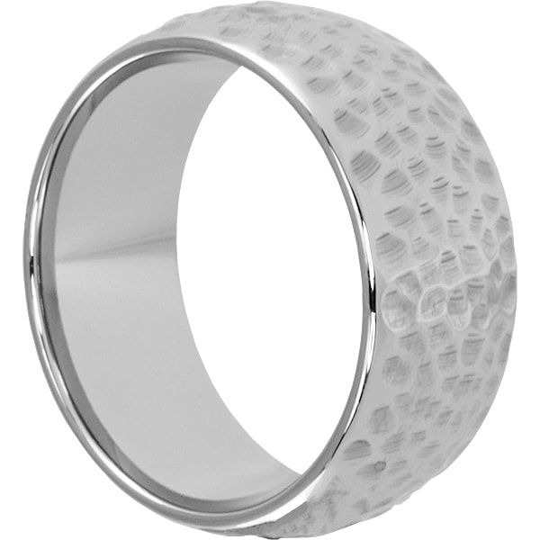 Men S Peened Hammered Rings Fabulous Polished Forever Metals Hammered Rings Hammered Tungsten Ring Tungsten Wedding Bands