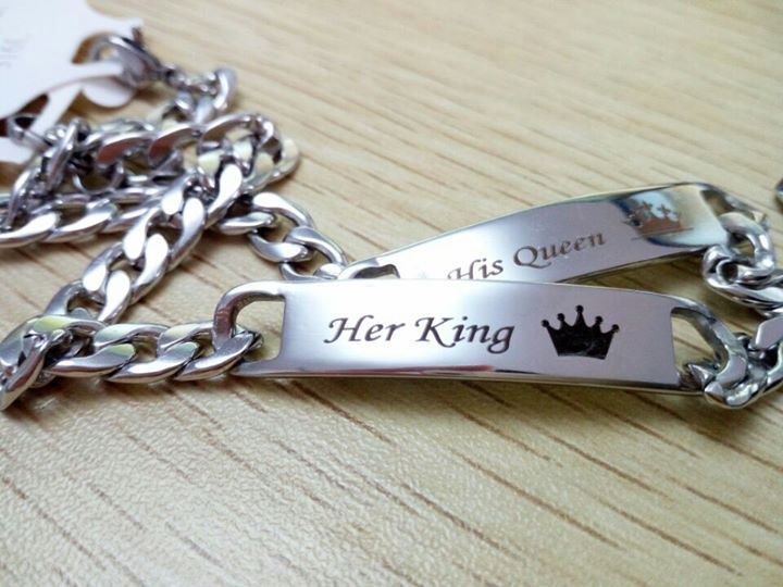 Her King His Queen Stainless Steel Bracelet Set Couple Jewelry