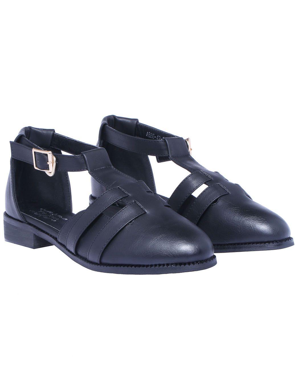 Black T Strap Flat Shoes 33.33