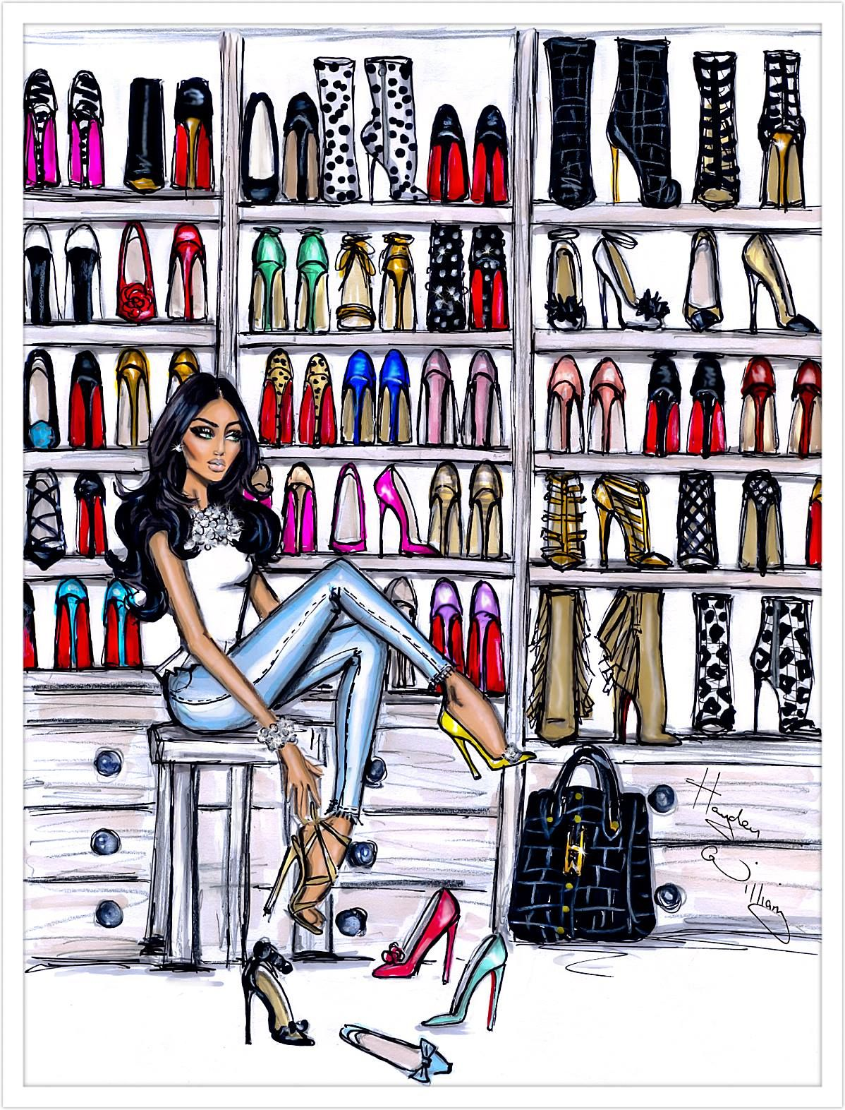 Hayden Williams Fashion Illustrations Shoe Closet by