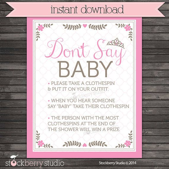 Baby Shower Clothespin Game | Princess Donu0027t Say Baby Shower Game Sign  Printable
