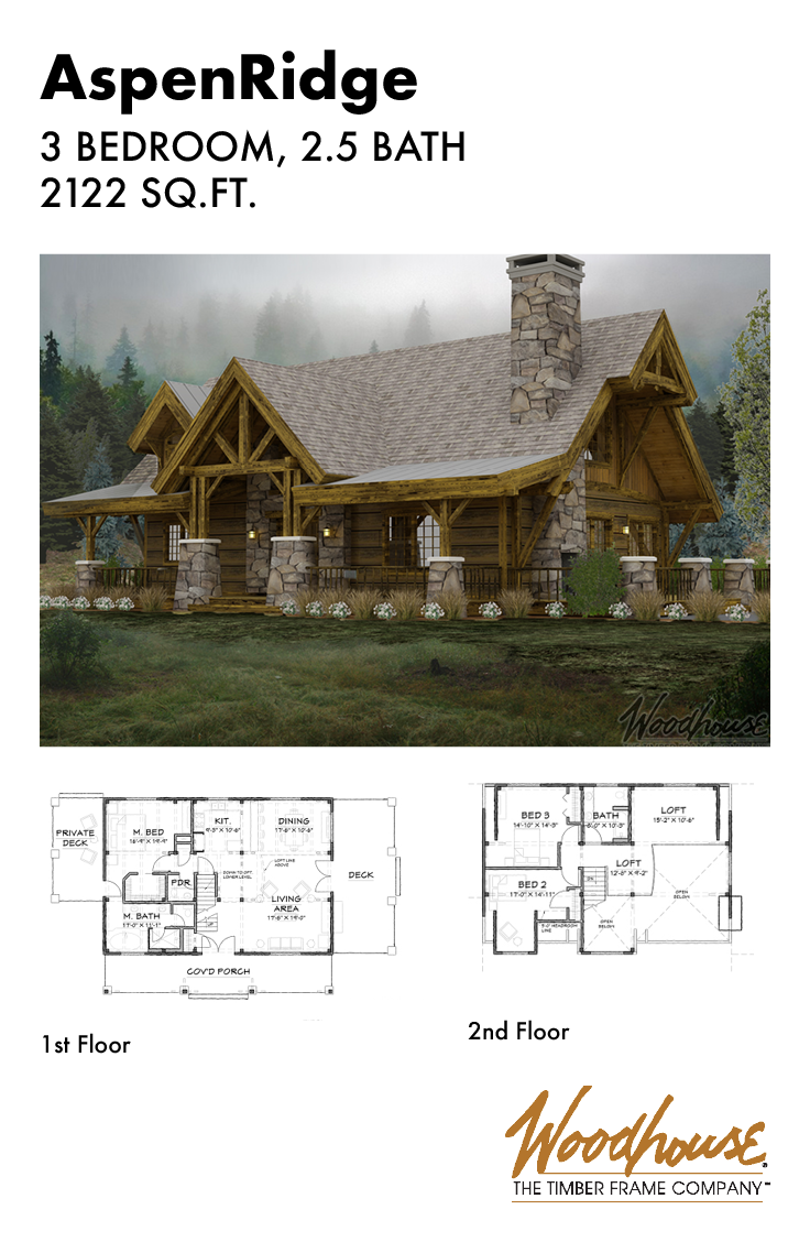 At 2 122 Square Feet With Massive Timbers And An Adirondack Cottage Feel This Timber Frame Hom Timber Frame Home Plans Mountain House Plans Cabin Floor Plans