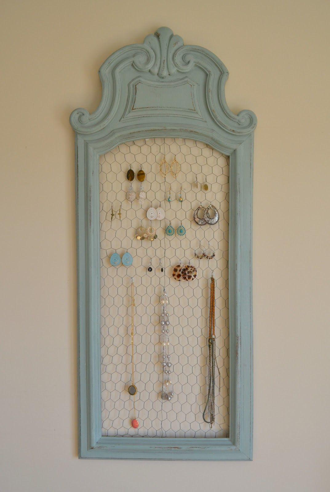 Funky Junk Jewelry Organizer Diy Jewelry Display Jewelry Organizer Diy Diy Picture Frames
