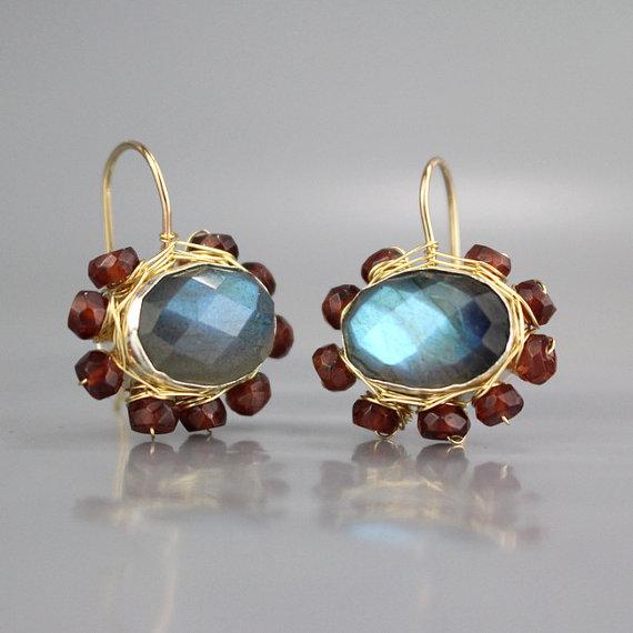 Labradorite Wedding Set Organic Women/'s Jewelry Labradorite Earrings Bezel Set Labradorite Wire Wrapped Earrings Natural Labradorite