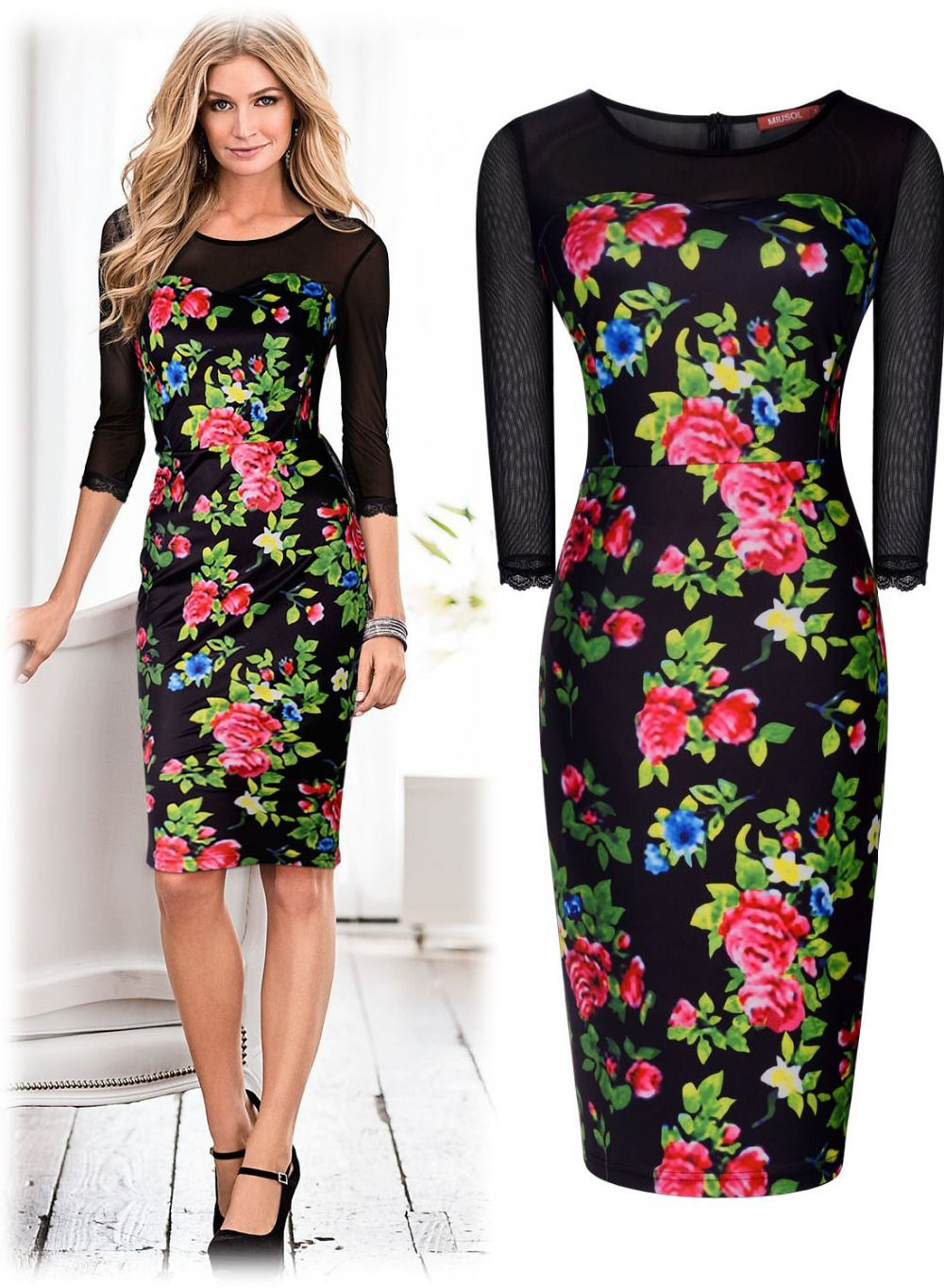 Free shipping Women s Floral Print Bodycon Stretch Prom Party Dresses  Hawaiian Holiday Ladies 3162(China (Mainland)) e639f6bca540