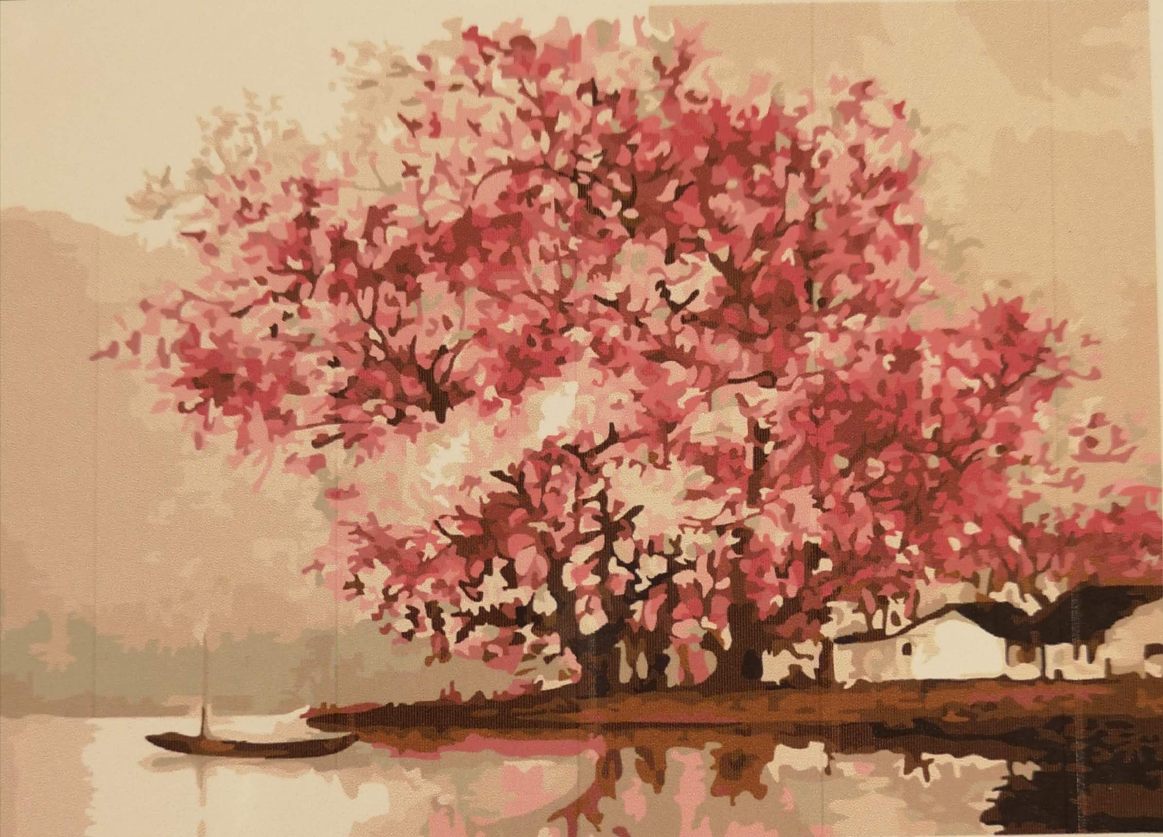 Paint By Numbers Blossom Tree By Lake Pencils Stencils Pbn Tree Painting Paint By Number Oil Painting Landscape