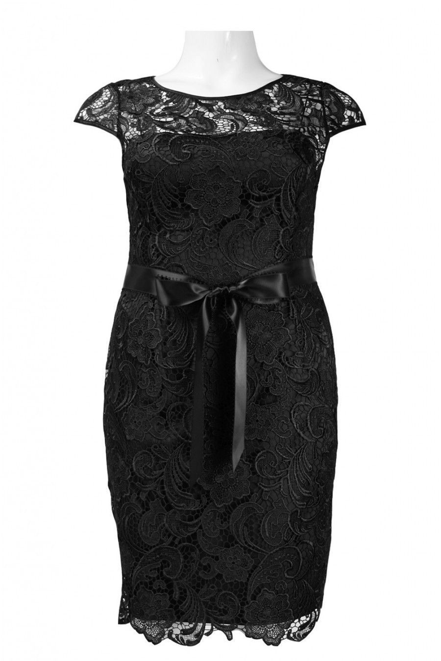 Adrianna papell cap sleeve knee length floral lace dress with bow