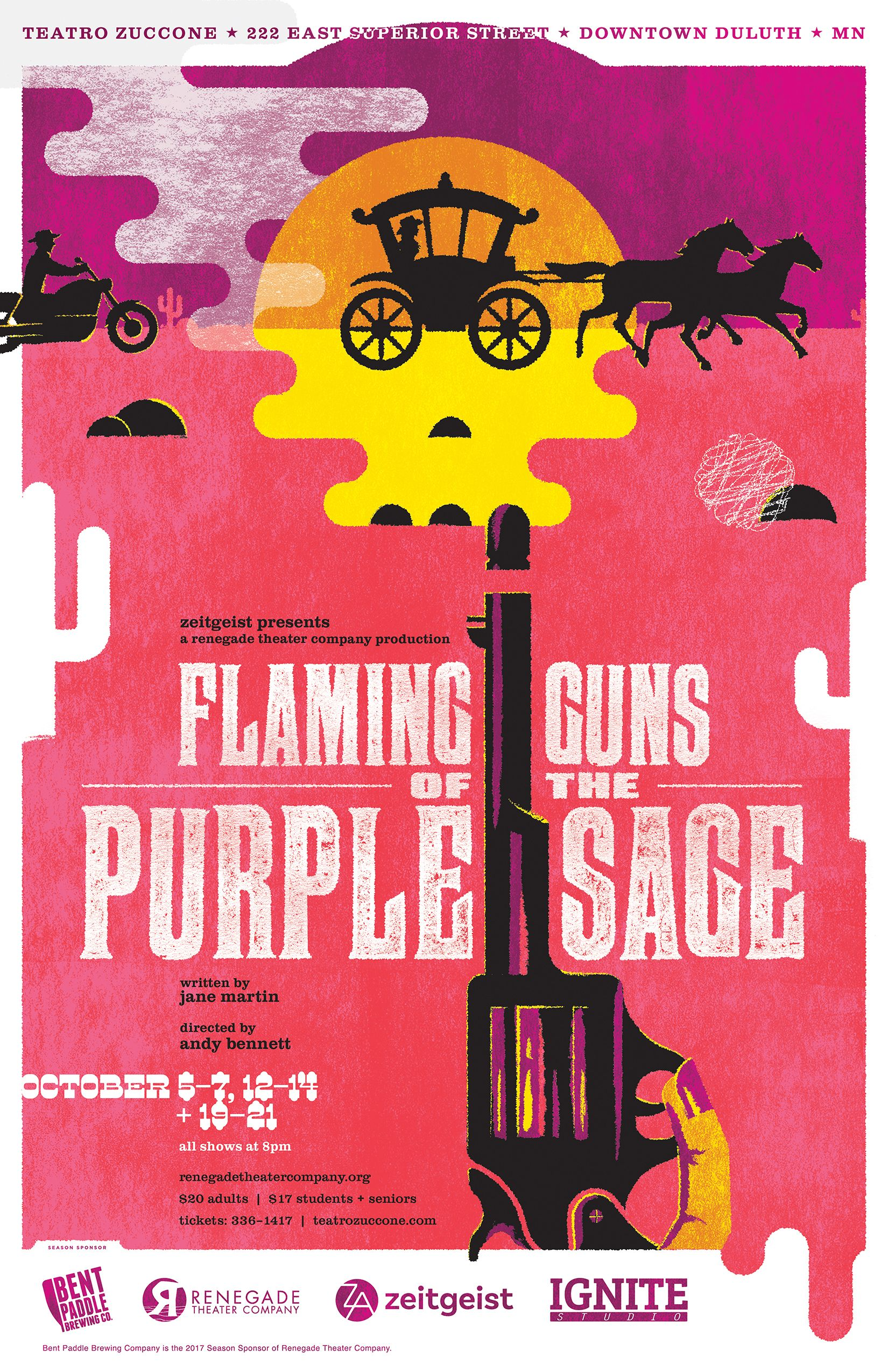 Flaming Guns Of The Purple Sage Theater Poster Design For
