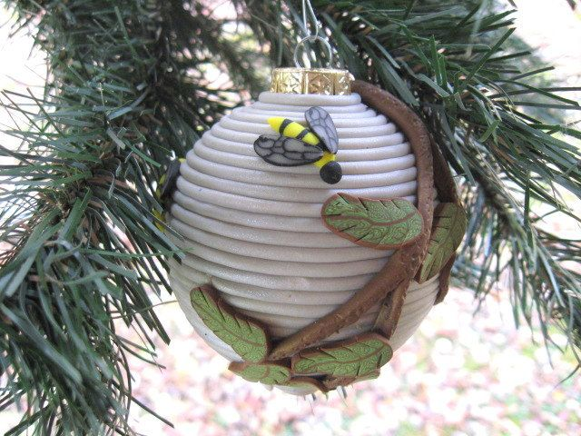 Christmas Ornament Hornet Nest Bee Hive Polymer By HipEarthDesigns