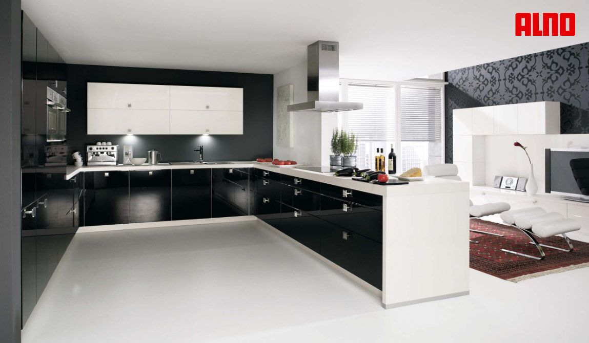 Beautiful U Shaped Kitchen Design With Cool Black And White U Shaped German Style Kitchen Design
