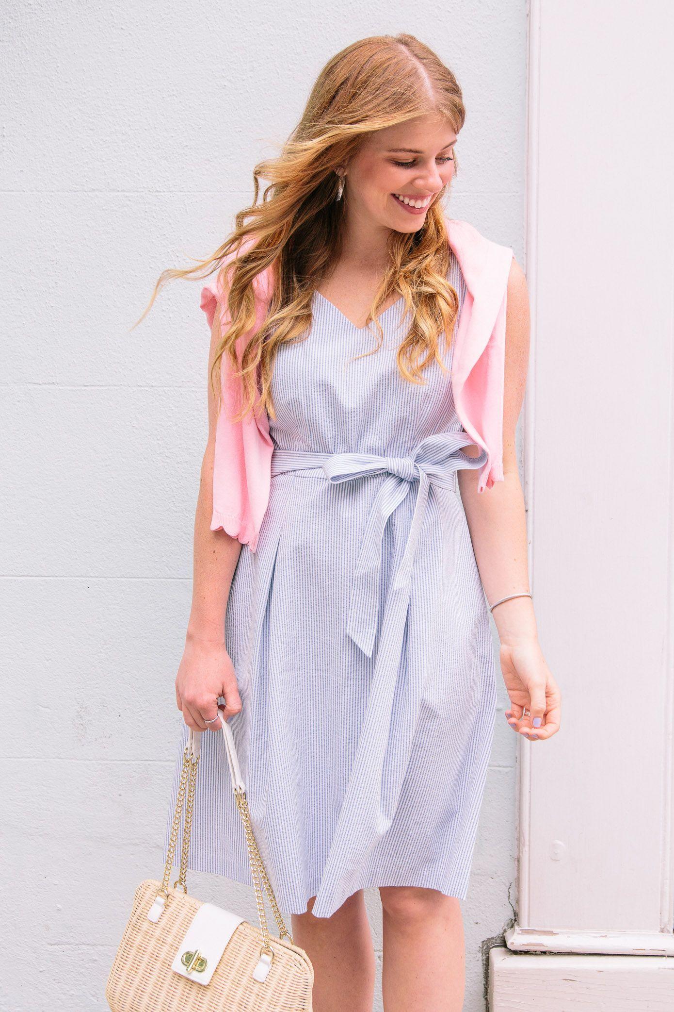 5de8eef5775 We love how simple   chic Louella Reese looks in the Talbots Belted  Seersucker Fit   Flare Dress.