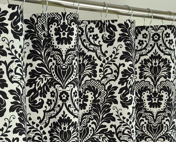 Black Damask Shower Curtain - 72 x 72 - Black & Off White | Linens ...