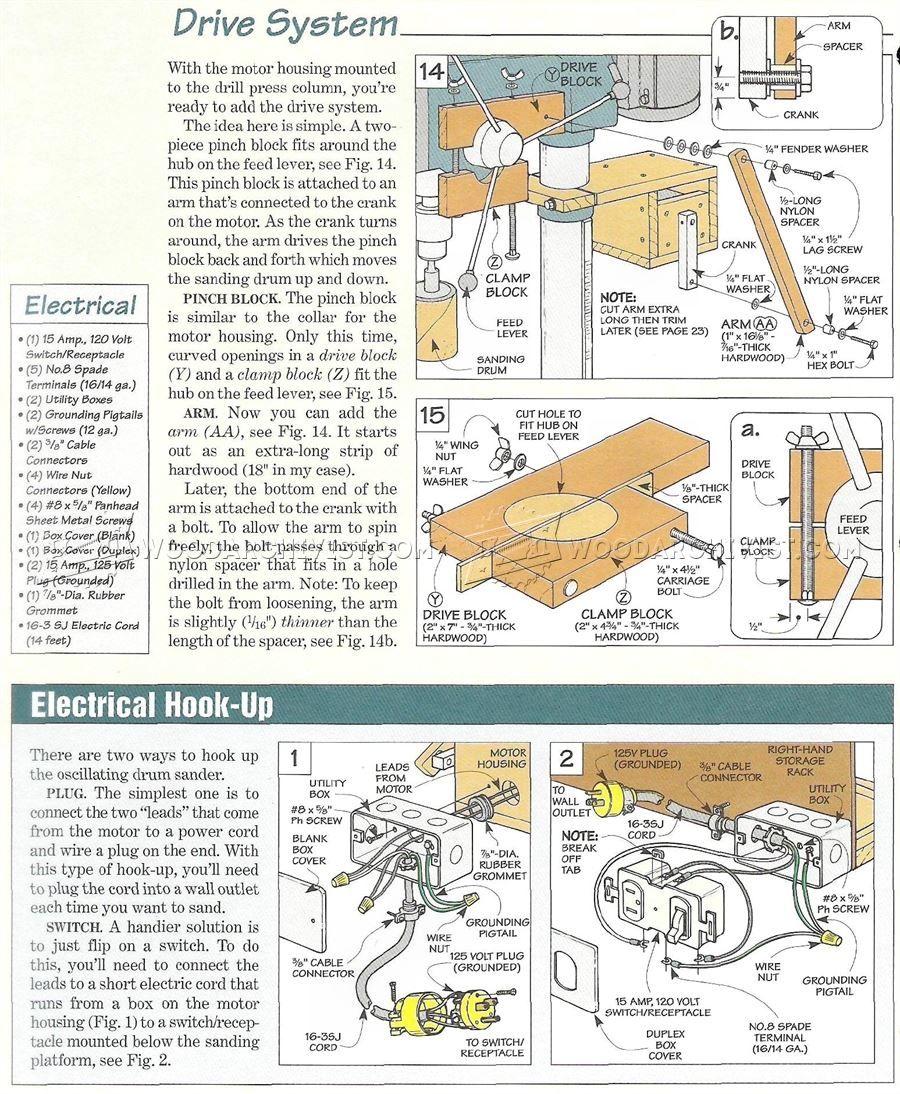 1358 Drill Press Oscillating Drum Sander Sanding Wood No Ground Plug Wiring Diagram 15 Amp