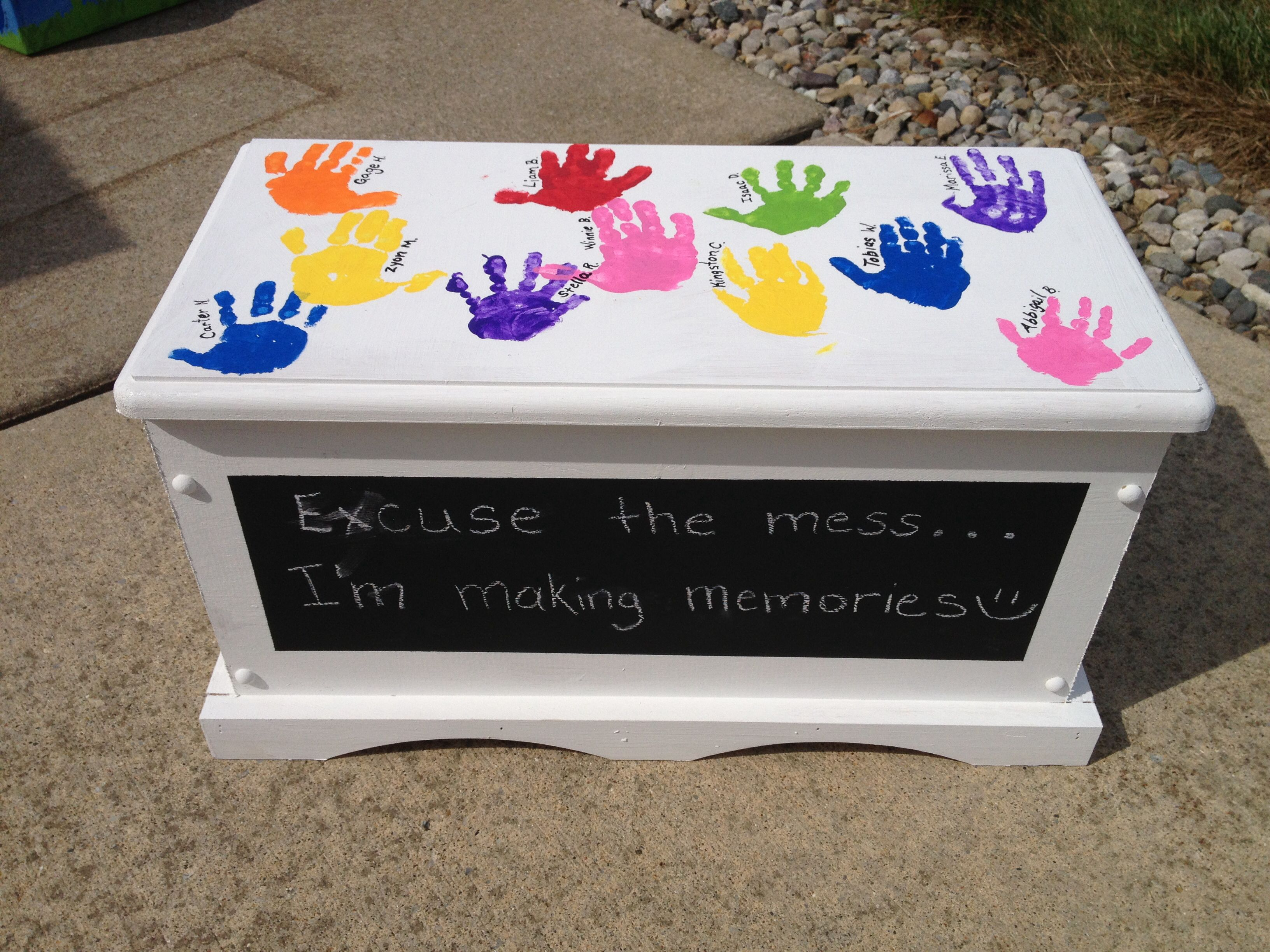 Handprint Toy Box I Used Chalkboard Paint For The Front