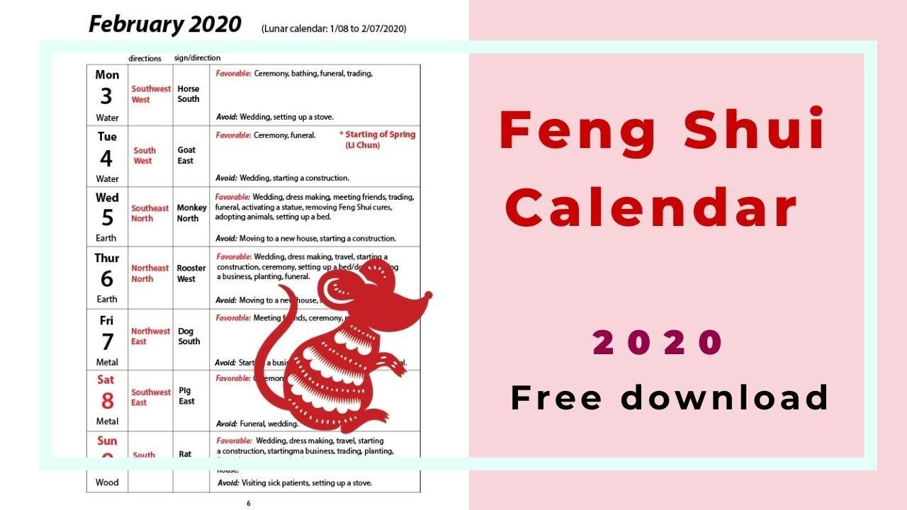 How To Use A Feng Shui Lunar Calendar Free Pdf Download From Jan