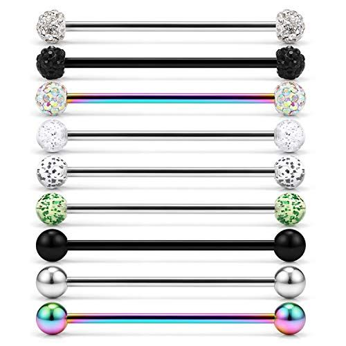 Women Surgical Steel Industrial Bar Scaffold Ear Barbell Ring Piercing JewelrO-N
