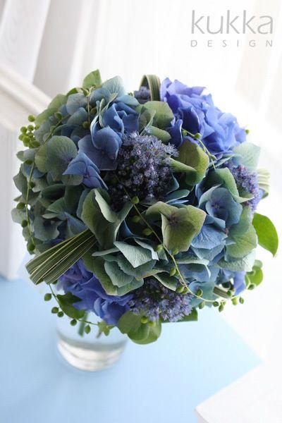 $kukkaのウエディングフラワーブック,アジサイ,紫陽花,ブルー,青,ブーケ