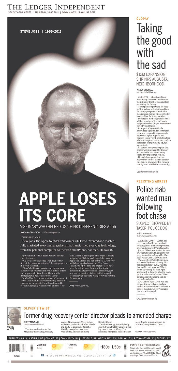 Newseum Today S Front Pages The Ledger Independent Headlines Steve Jobs How To Memorize Things