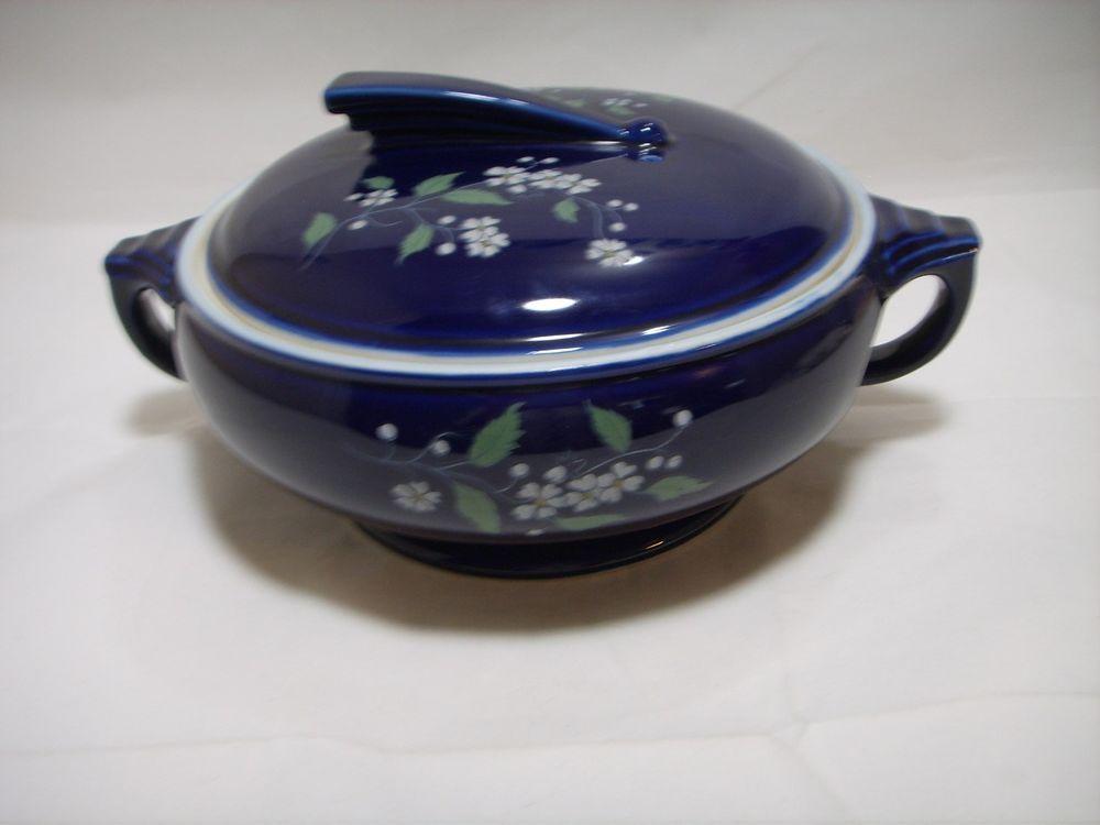 Hall Kitchenware Casserole Dish Cobalt Blue Floral Garden Vintage  #HallKitchenware