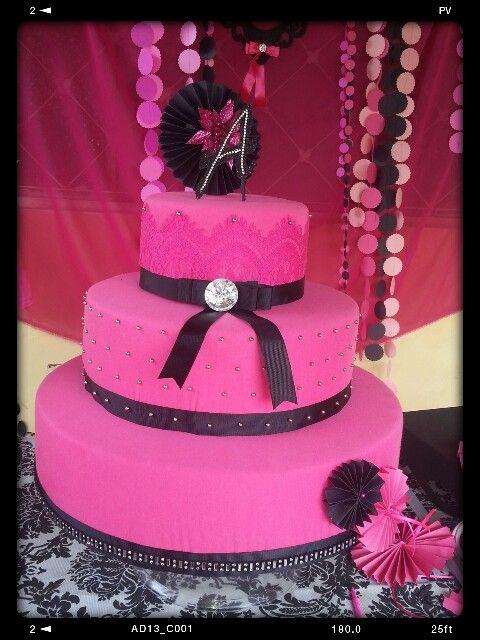 Black Pink Fake Cake Bolo Cenografico Pink E Preto