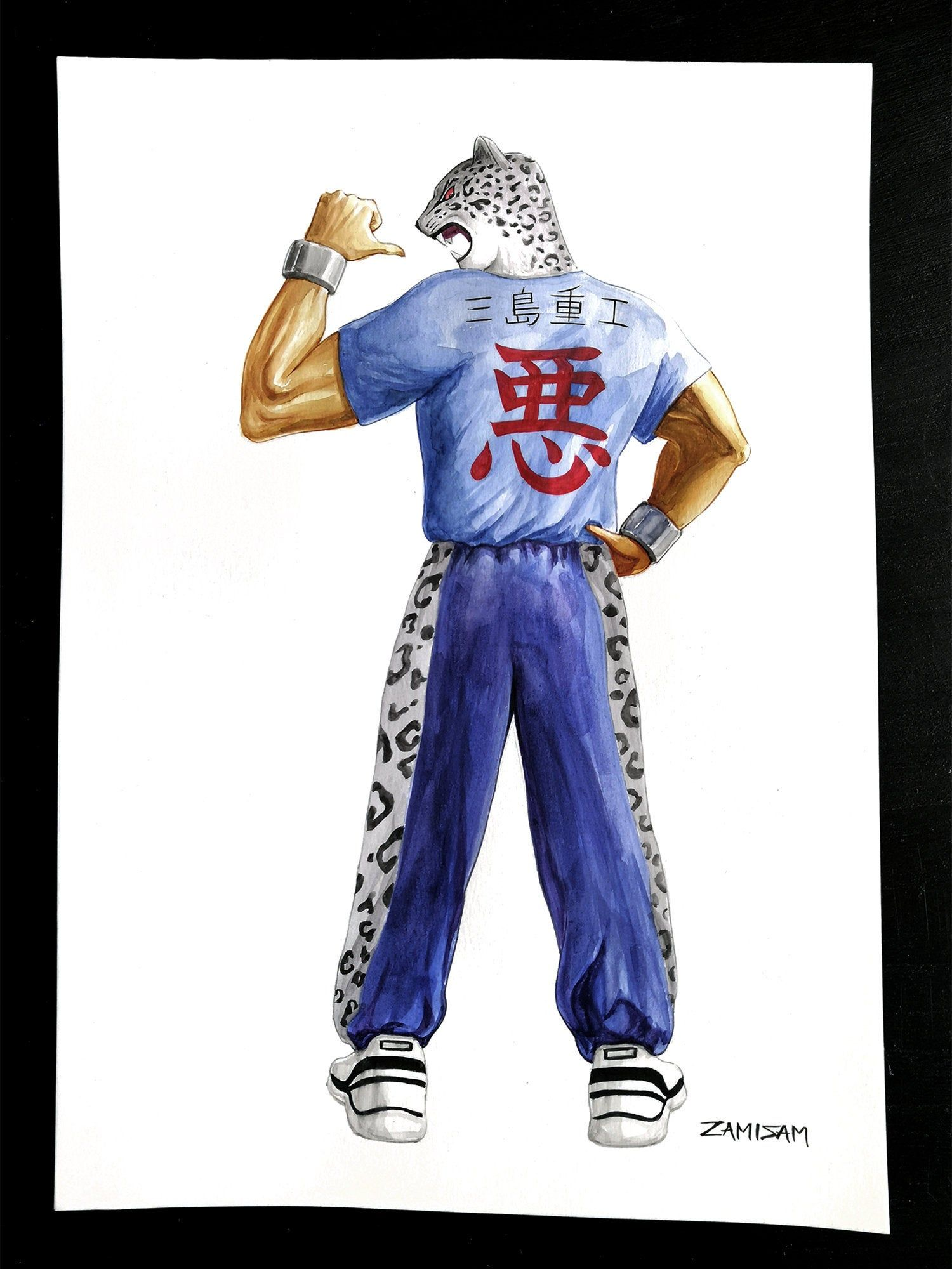 King From Tekken Original A3 Watercolor Video Game Fan Art Video