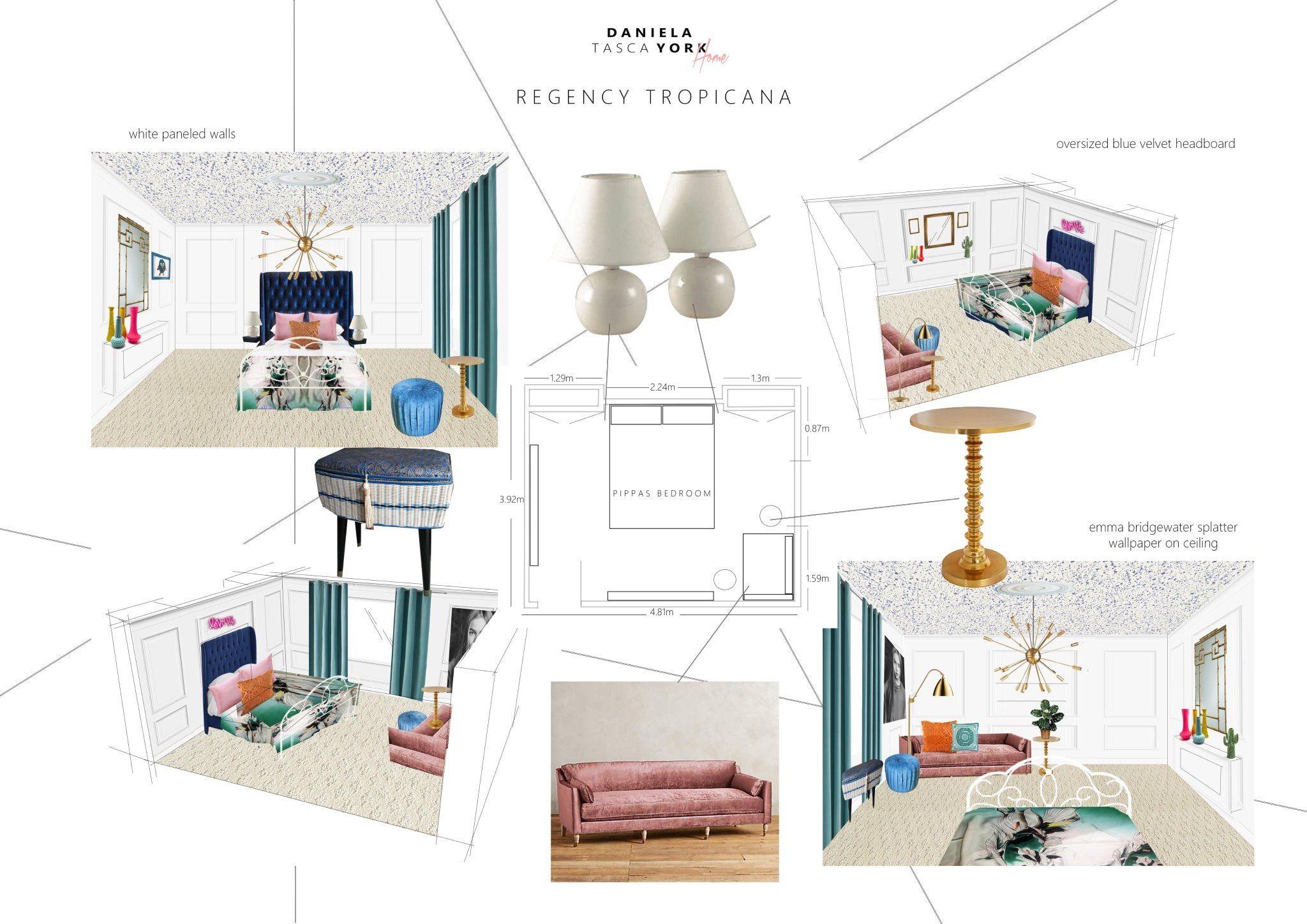 Daniela Tasha York 2017 Great Interior Design Challenge Winner Regency Tropicana Moodboard Room Blue Velvet Headboard Velvet Headboard