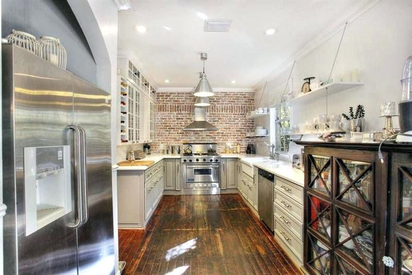 white kitchen with brick wall country kitchen with brick wall and