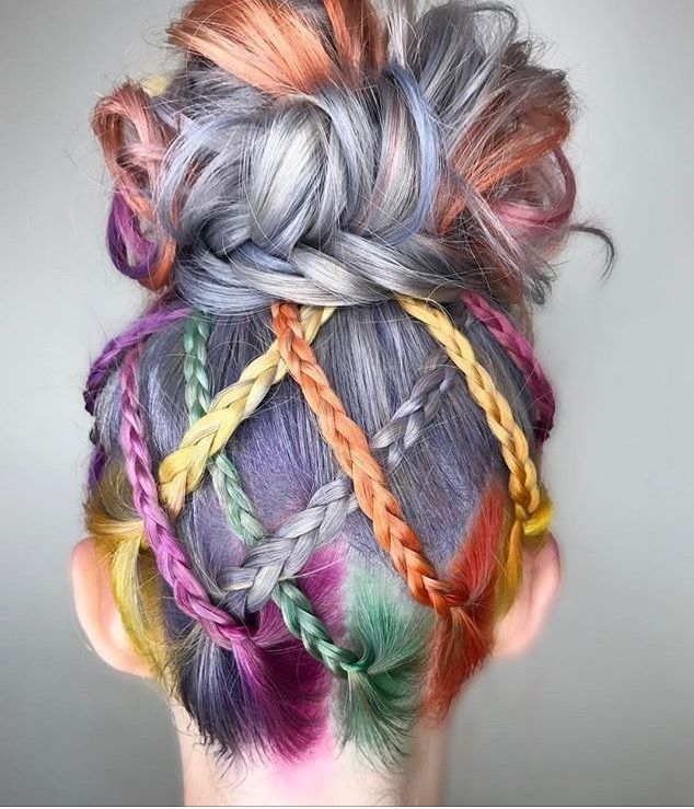 Multi colour hair braided bun
