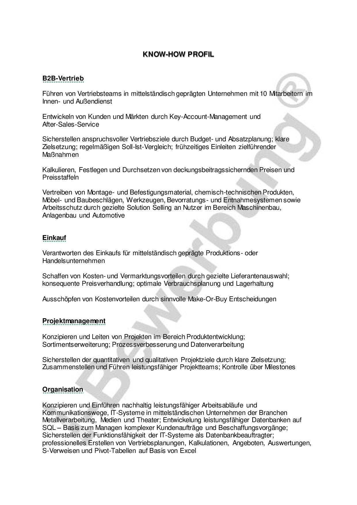 Qualifikationsprofil Betriebswirt Vorlage Stellenbewerbung Betriebswirt Profil