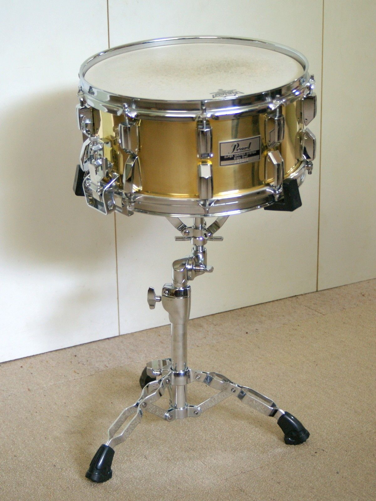 1980's Vintage Pearl Super Gripper Solid Brass Snare Drum
