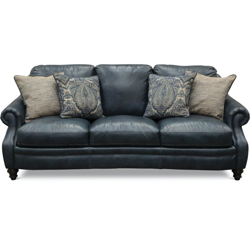 Classic Traditional Navy Blue Leather Sofa - Admiral | Navy ...