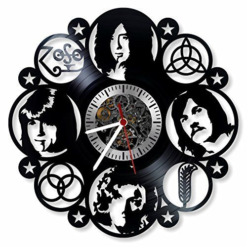 Get unique room wall decor Modern Unique Home Art Design Led Zeppelin Band Handmade Vinyl Record Wall Clock Gift ideas for his and her