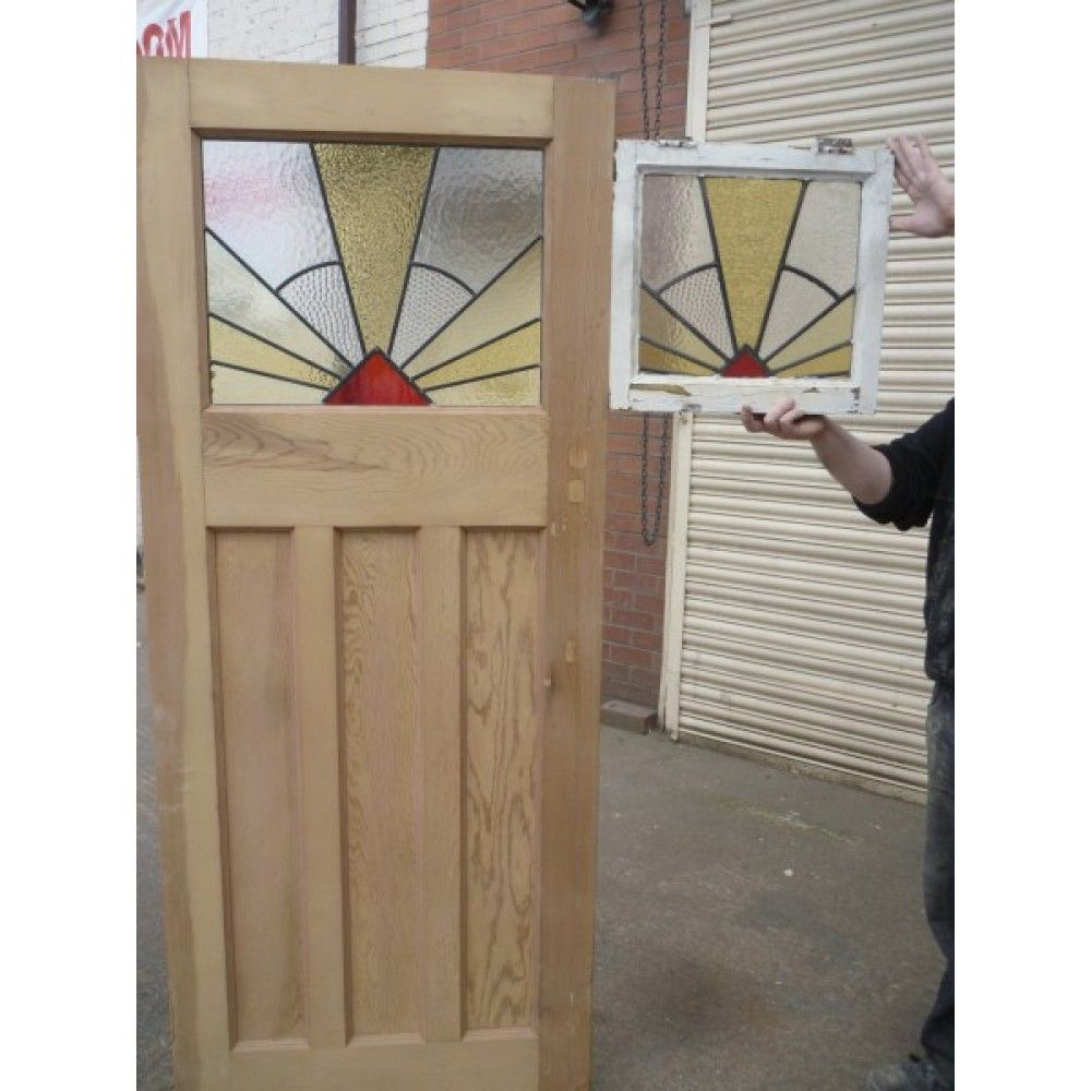 1930u0027s Edwardian Original Stained Glass Exterior Door - Sunburst Sunrise  sc 1 st  Pinterest & 1930u0027s Edwardian Original Stained Glass Exterior Door - Sunburst ... pezcame.com