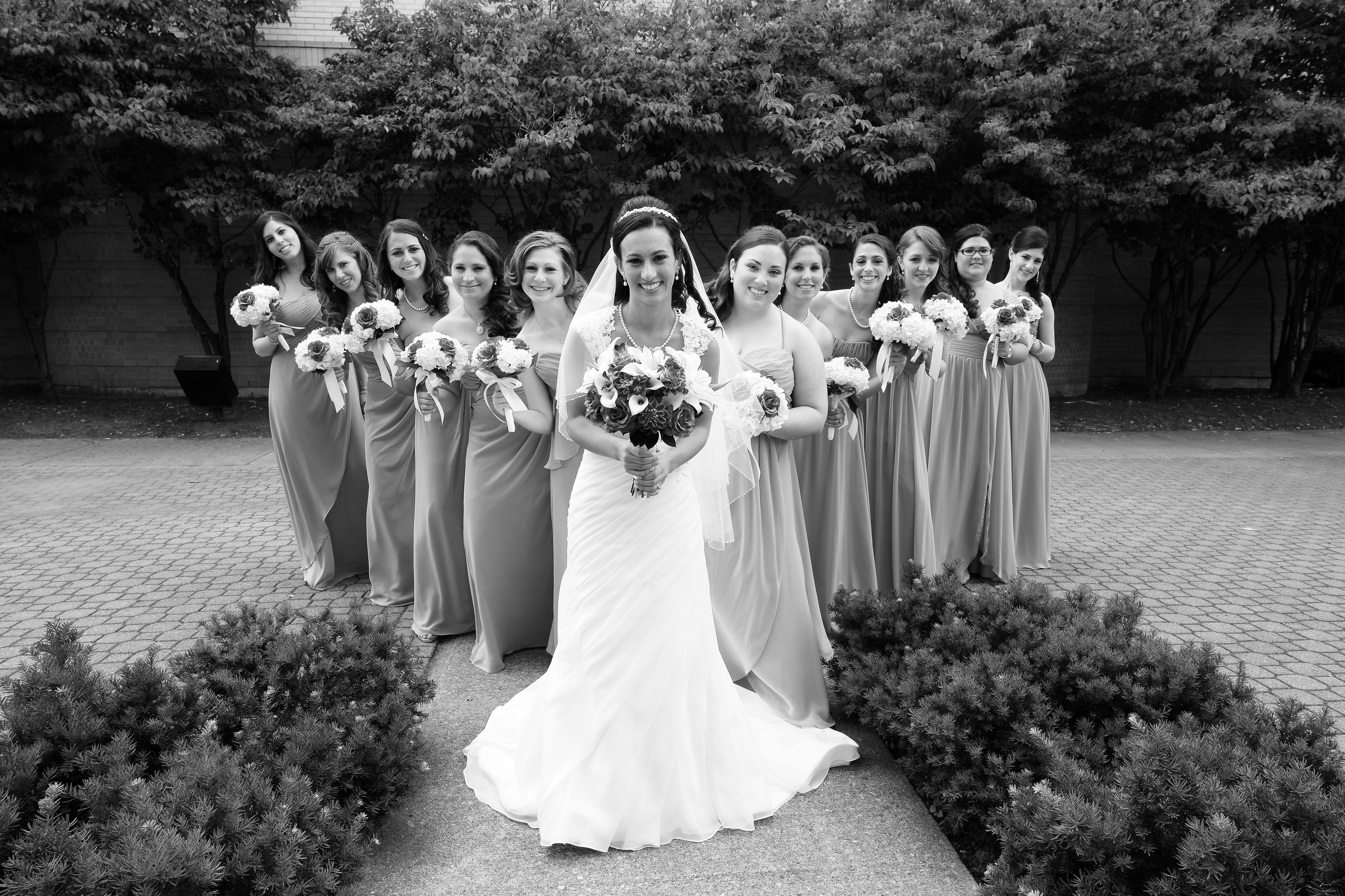 large bridal party catholic wedding ceremony st gabriel u0027s