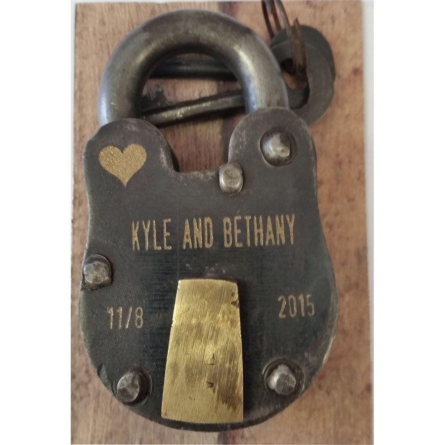 """6 Year Anniversary, Iron, ENGRAVED PADLOCK """"Love Lock"""